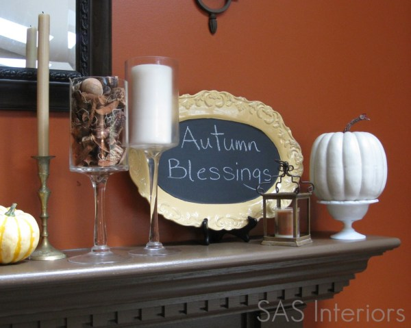 fall mantel with chalkboard, SAS Interiors