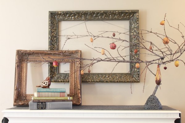 fall mantel with diy halloween tree, The Rooster and The Hen