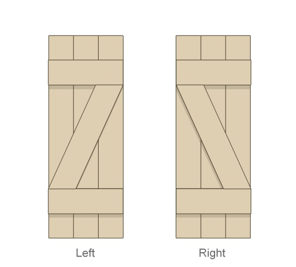 left and right Z bar DIY shutters