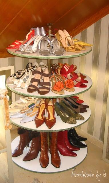 shoe storage ideas - diy lazy susan for shoes, Handmade by Izz