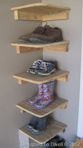 shoe storage ideas - garage corner shelves to hold shoes, Designed to Dwell