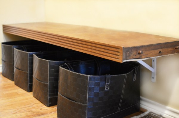 shoe storage ideas - mudroom bench from old dresser, It's Overflowing