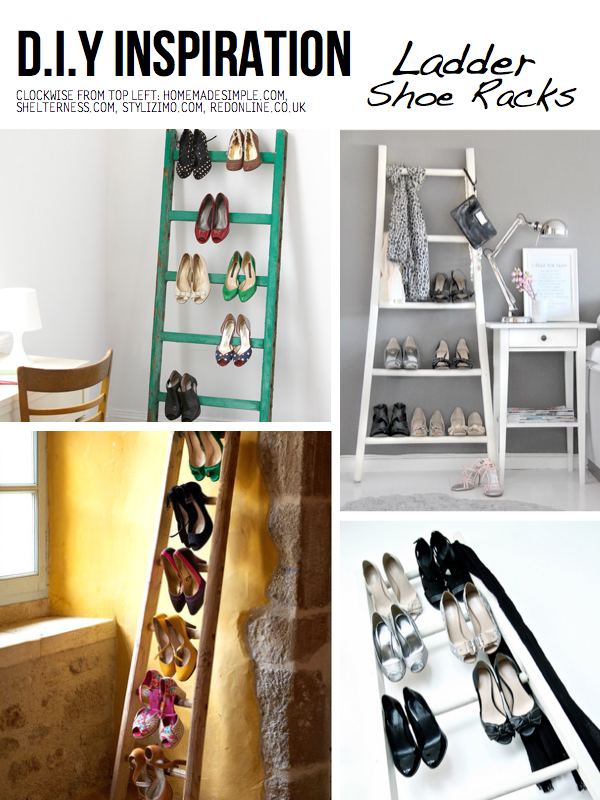 shoe storage ideas - use a ladder to hold shoes, via Scraphacker