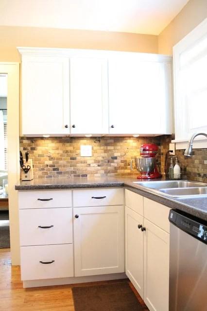 Superb Small Kitchen Remodel With Slate Tile Backsplash | Featured At  Remodelaholic.com #smallkitchen ...