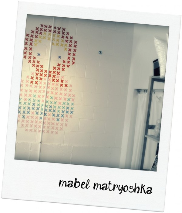 washi tape home decor - cross stitch wall mural, Sewn Studio