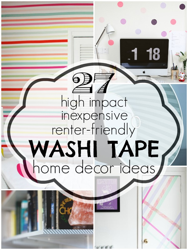 Washi Tape Home Decor Ideas | Remodelaholic.com #washitape #homedecor #renterfriendly @Remodelaholic