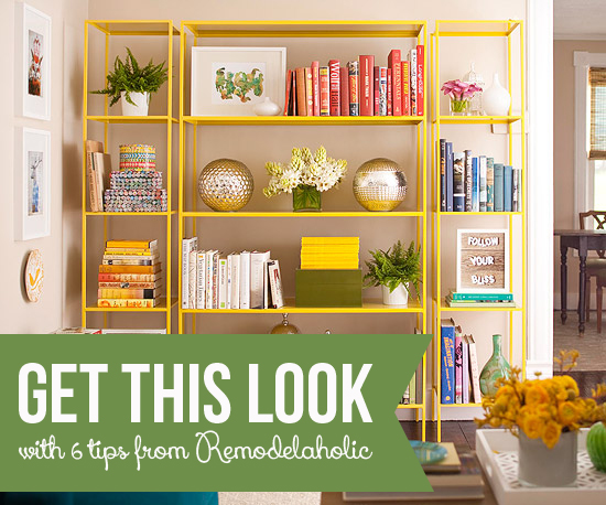 Get This Look - Stylish Open Shelf Library - Remodelaholic.com