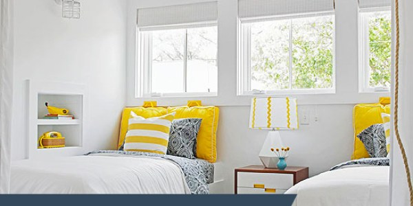 Get This Look: Sunny Shared Bedroom for Boys or Girls via Remodelaholic.com