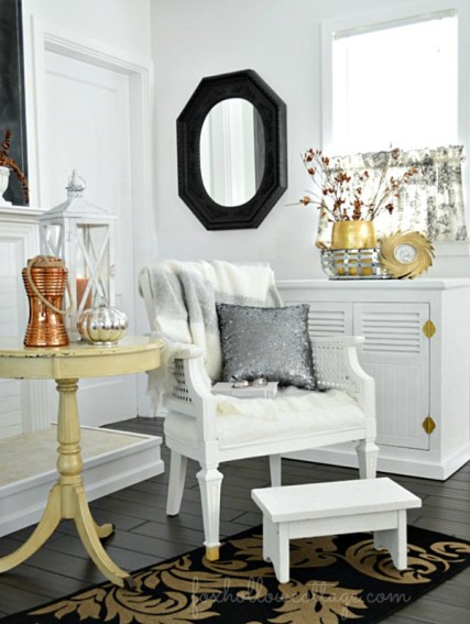 HomeGoods-Home-Decor-Decorating-with-Gold-Black-White-Dark-Hardwood-Floors.foxhollowcottage