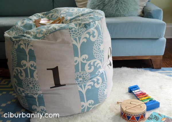 Land of Nod knock-off floor pouf, featured on Remodelaholic.com