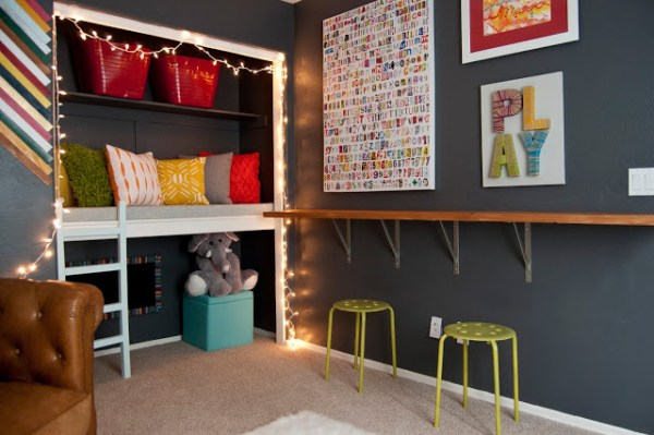 Colorful Playroom With Reading Loft 551 East Design Via Remodelaholic