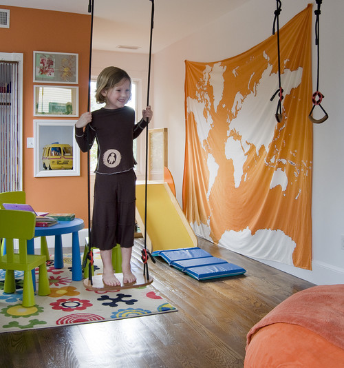 Contemporary Kids Playroom With Wall Map Via Houzz On Remodelaholic