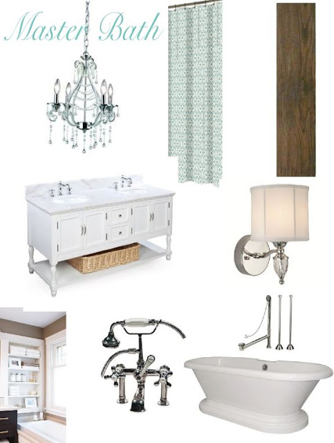 elegant white master bath mood board and ideas, featured on Remodelaholic.com