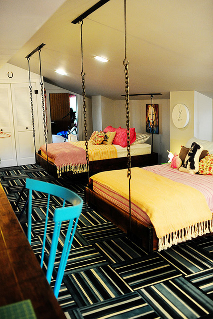 shared bedroom with hanging loft beds, Pioneer Woman - featured on Remodelaholic.com