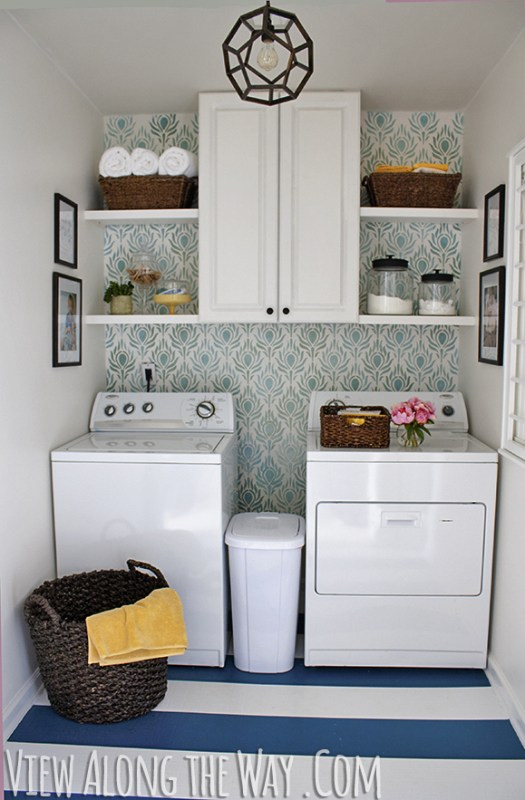 small laundry room makeover on a budget, View Along The Way - featured on Remodelaholic.com