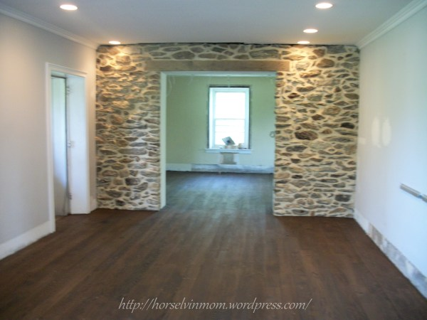 white country kitchen remodel with wood flooring, featured at Remodelaholic.com