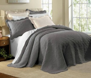 Brylane Home gray quilted bedspread, Amazon