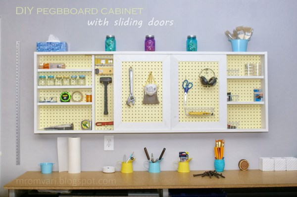 DIY Wall-Mount Organized Pegboard Tool Cabinet, featured on Remodelaholic.com