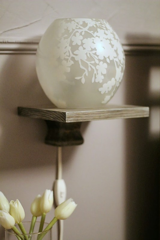 Build a Simple DIY Floating Bedside Shelf, Turtles and Tails featured on Remodelaholic.com #tutorial #diy #nightstand #floatingshelf