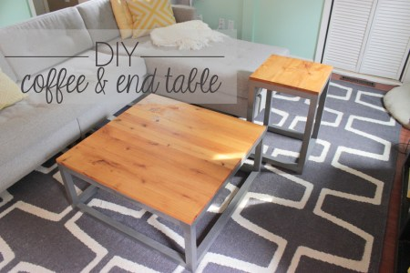 DIY modern coffee table and end table, Home Coming featured on Remodelaholic