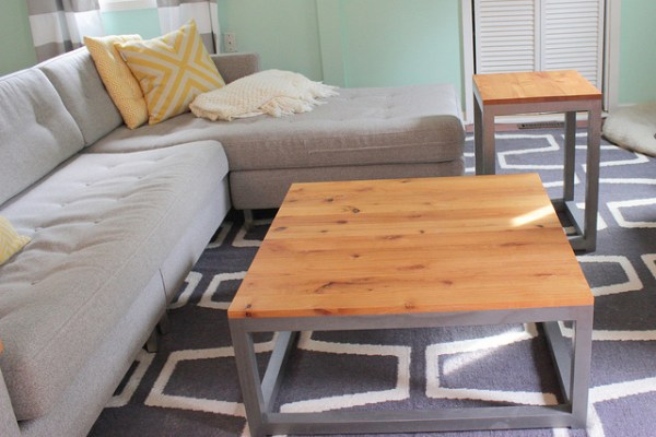 DIY modern end table and coffee table, Home Coming featured on Remodelaholic