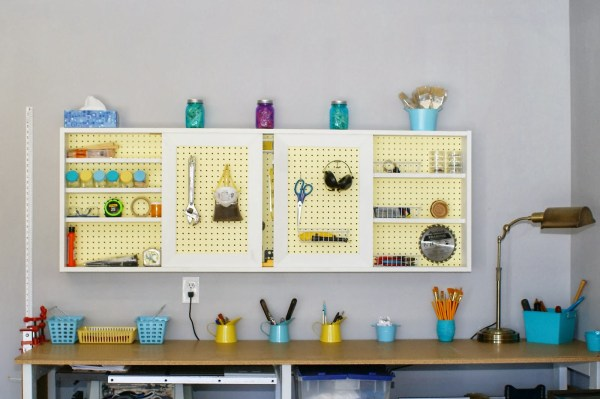 DIY organized pegboard tool cabinet and workbench.com