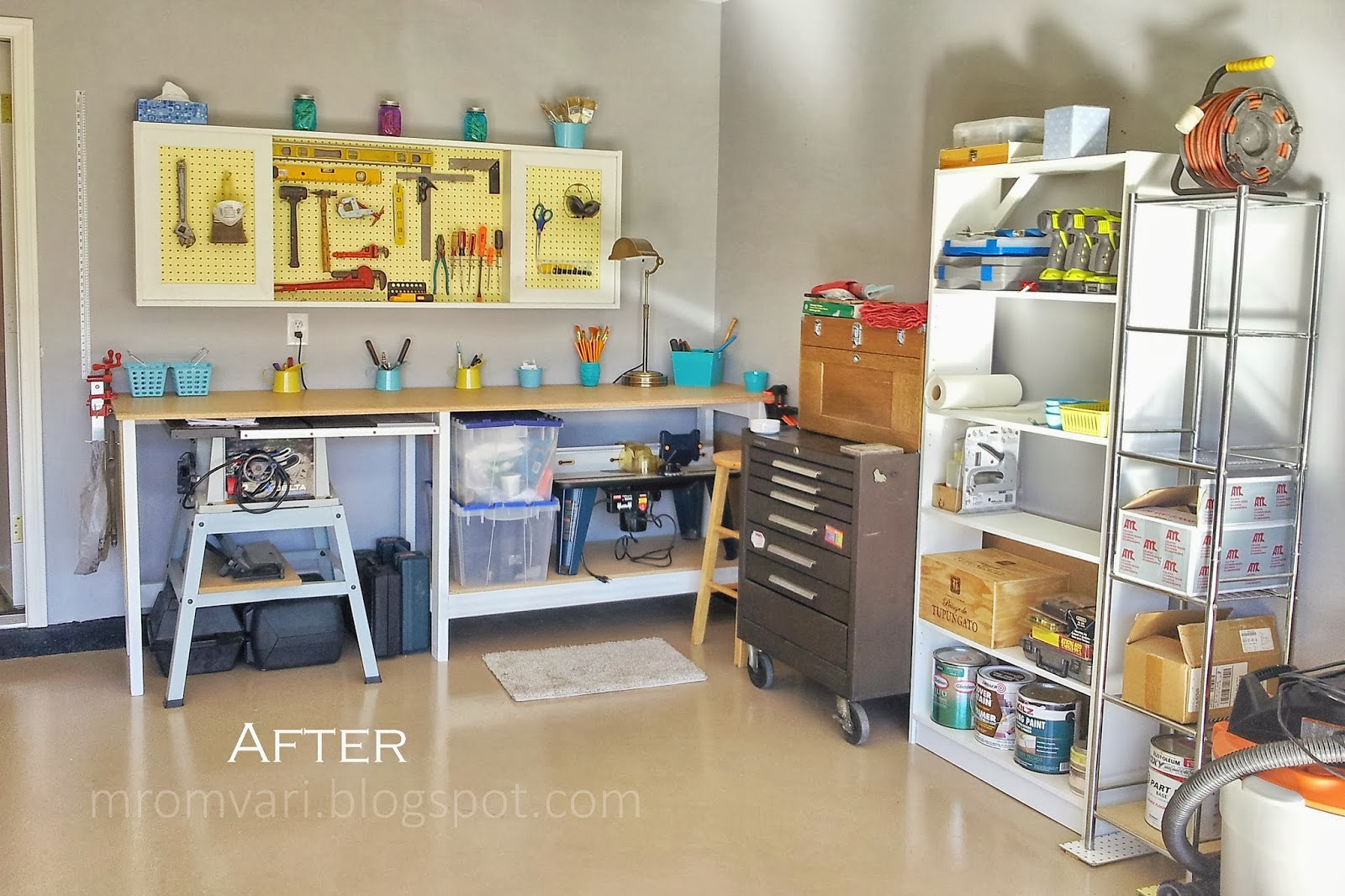 DIY Tutorial   Workbench And Pegboard Tool Cabinet With Sliding Doors,  Featured On Remodelaholic.