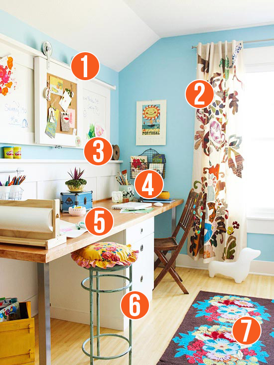 Get This Look - Colorful Shared Home Office and Homework Station - 7 Tips from Remodelaholic