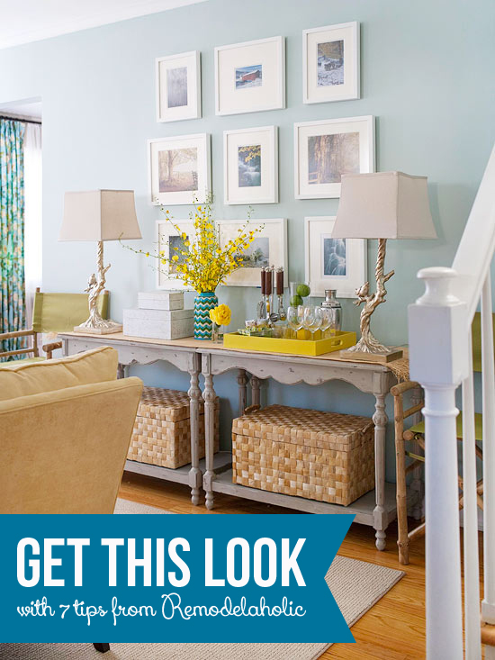 Get This Look - Doubled Up Console Table Buffet - 7 Design Tips from Remodelaholic.com #getthislook #consoletable #decorating