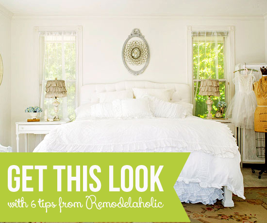 Get This Look - Tips for a Dreamy White Bedroom from Remodelaholic.com