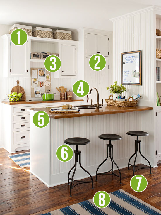 Get This Look: Warm Wood Tones in a White Kitchen - 8 Tips from Remodelaholic.com #getthislook #whitekitchen #butcherblock