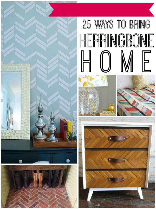 Herringbone in Home Decor | 25 Projects and Ideas from Remodelaholic.com #herringbone #diy #homedecor