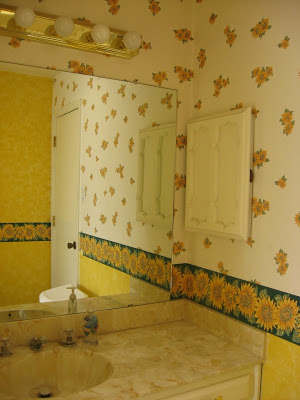 bathroom makeover before, The Pin Junkie featured on Remodelaholic.com