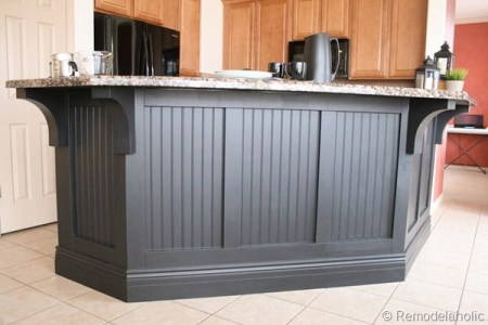 board and batten kitchen island makeover with corbels, Remodelaholic.com