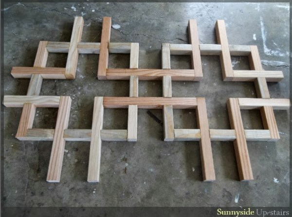 building the DIY lattice-style square dining table, Sunnyside Upstairs featured on Remodelaholic