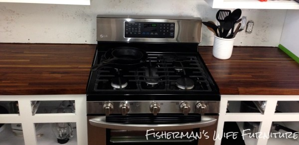 butcherblock countertops small kitchen makeover, Fisherman's Wife Furniture featured on Remodelaholic.com