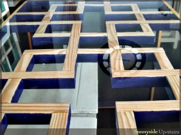 dark purple painted lattice square dining table, Sunnyside Upstairs featured on Remodelaholic