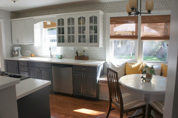 gray and white kitchen makeover with painted cabinets, LoveLee Homemaker featured on Remodelaholic