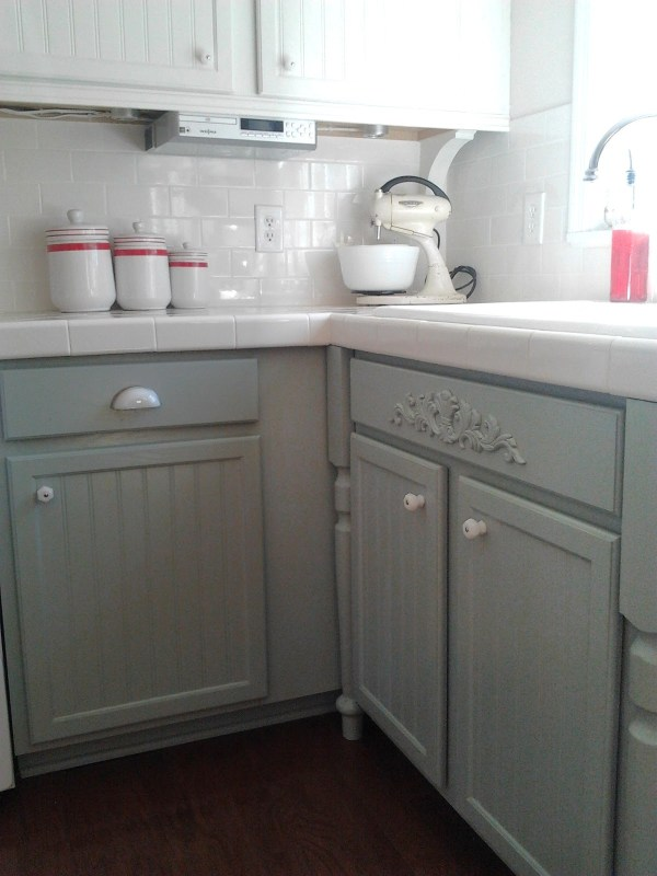 Gray and White Kitchen with Oak Cabinets