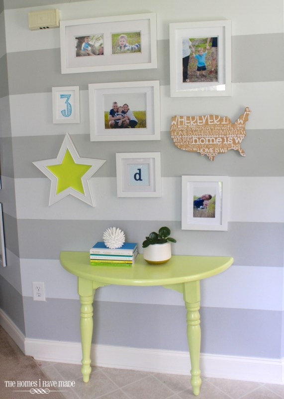 half console table with entryway gallery wall, The Homes I Have Made via Remodelaholic