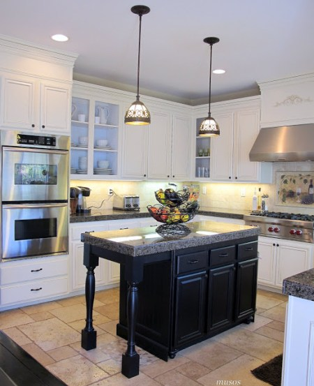 kitchen island makeover, My Uncommon Slice of Suburbia via Remodelaholic.com