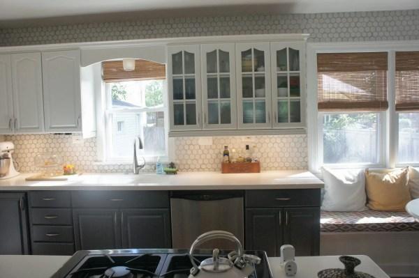 hexagon tile kitchen backsplash Remodelaholic | Gray and White Kitchen Makeover with Hexagon Tile Backsplash