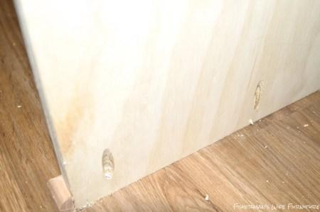 kreg-jig pocket holes to secure fridge enclosure to the floor, Fisherman's Wife Furniture featured on Remodelaholic.com