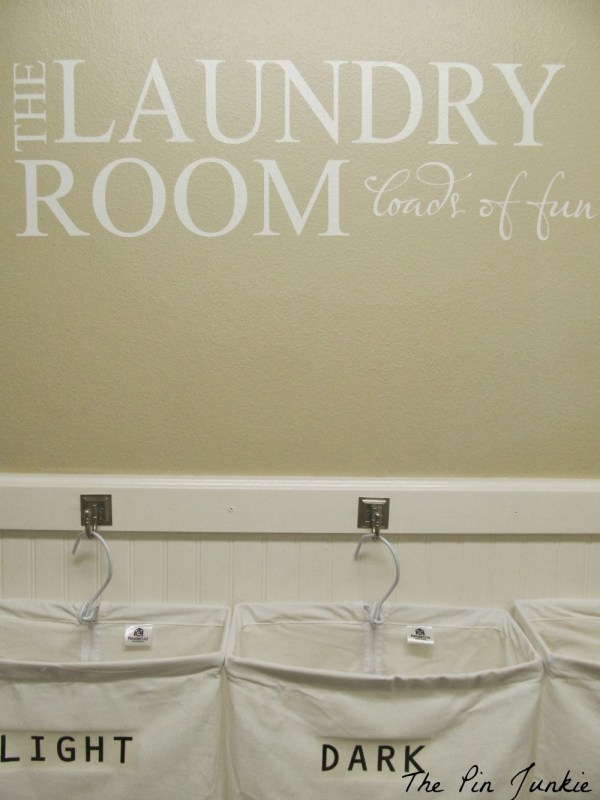 laundry room makeover with vinyl decal, The Pin Junkie featured on Remodelaholic.com