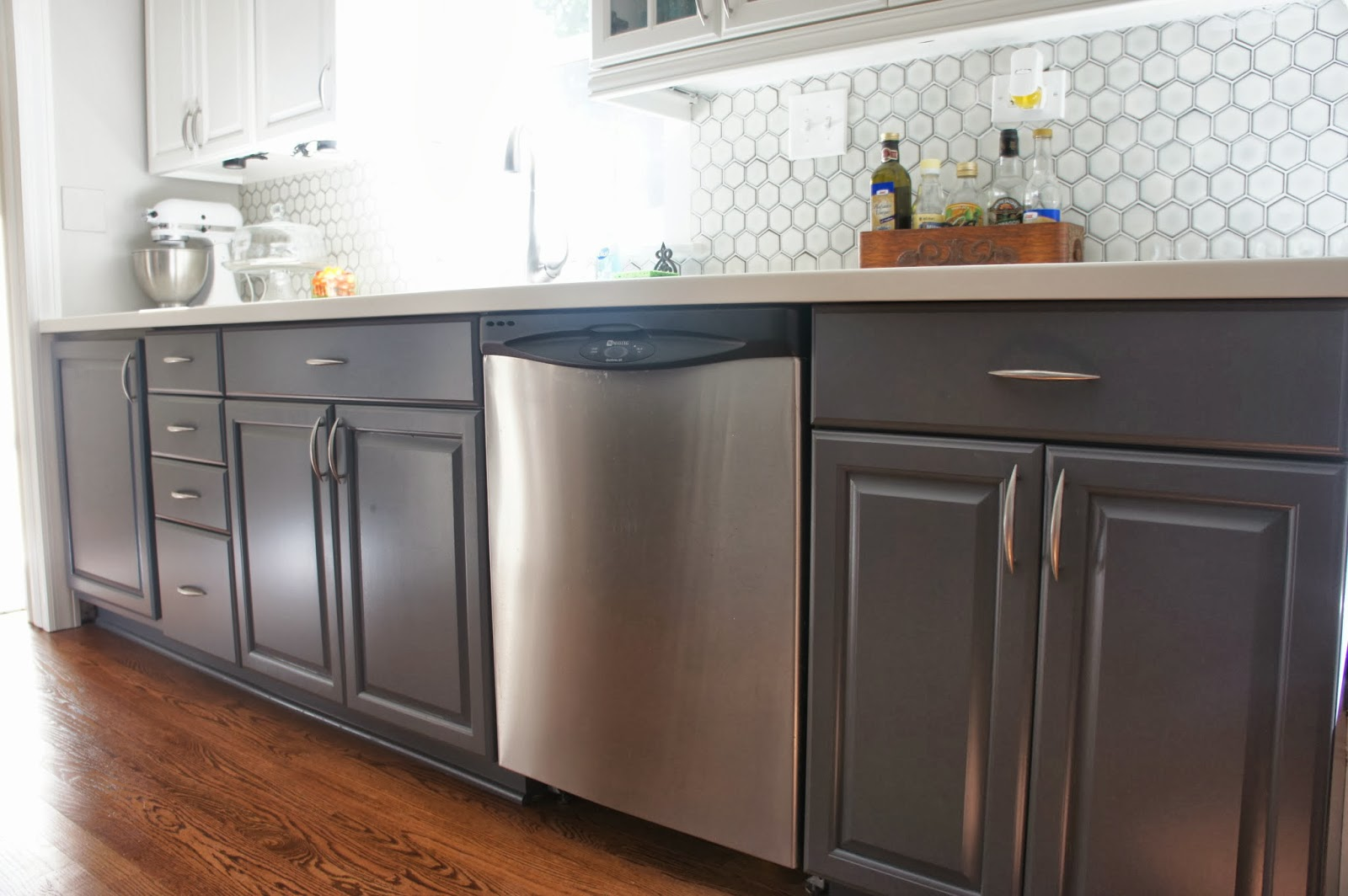 painted gray kitchen cabinets booster seat remodelaholic and white makeover with