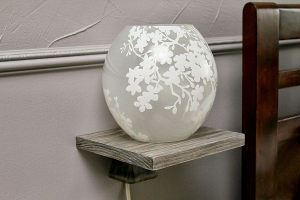 modern orb lamp on floating bedside table - diy tutorial, Turtles and Tails featured on Remodelaholic.com