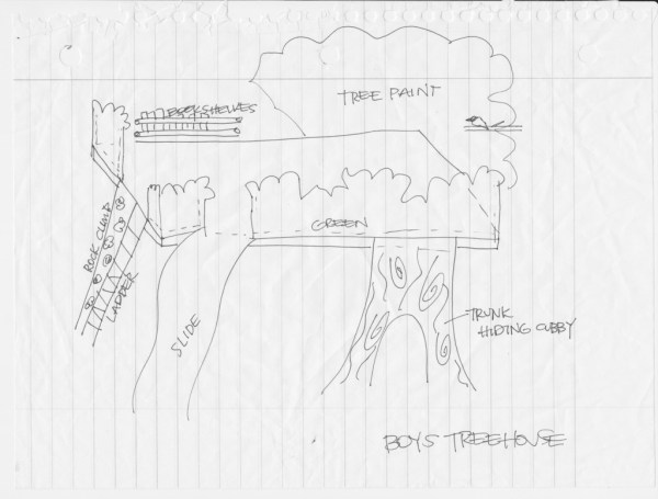 original sketched plans for loft indoor tree house, I Am Hardware featured on Remodelaholic