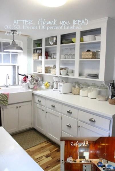 small white kitchen redesign, She Got Married via Remodelaholic