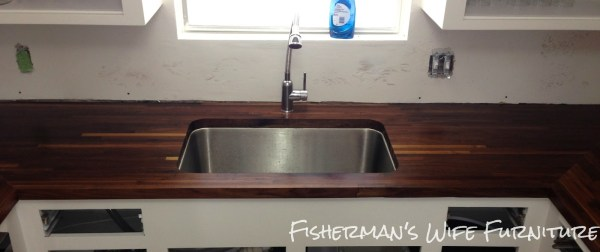 wooden butcherblock countertops with undermount sink, Fisherman's Wife Furniture featured on Remodelaholic.com