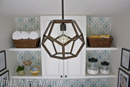 wooden geometric dodecahedron pendant lamp diy tutorial, View Along The Way via Remodelaholic